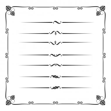 Collection of decorative line elements, border and page rules ve