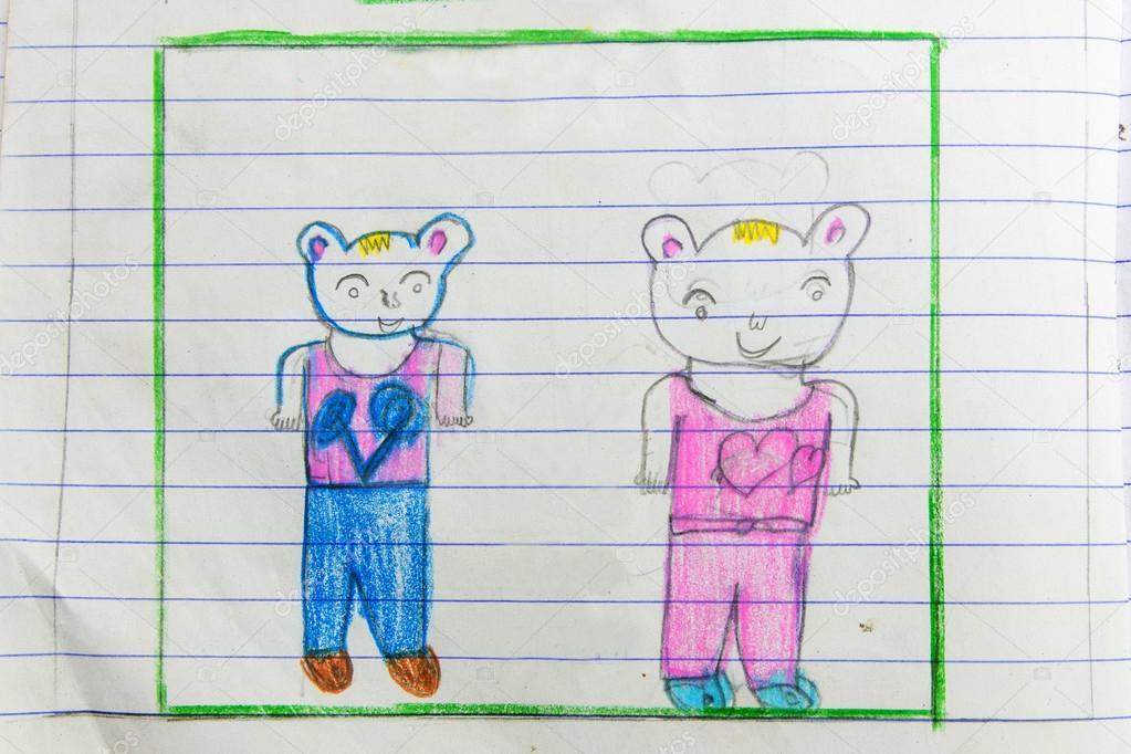 Niños dibujando arte en libro sobre fondo blanco — Fotos de Stock ...