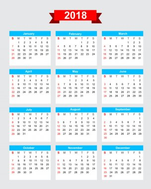 2018 calendar week start sunday