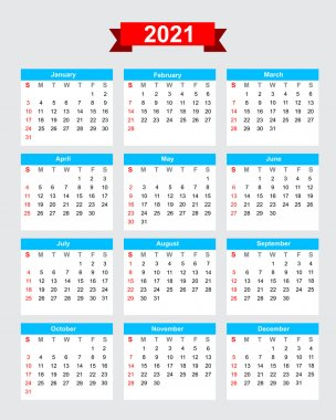 2021 calendar week start sunday