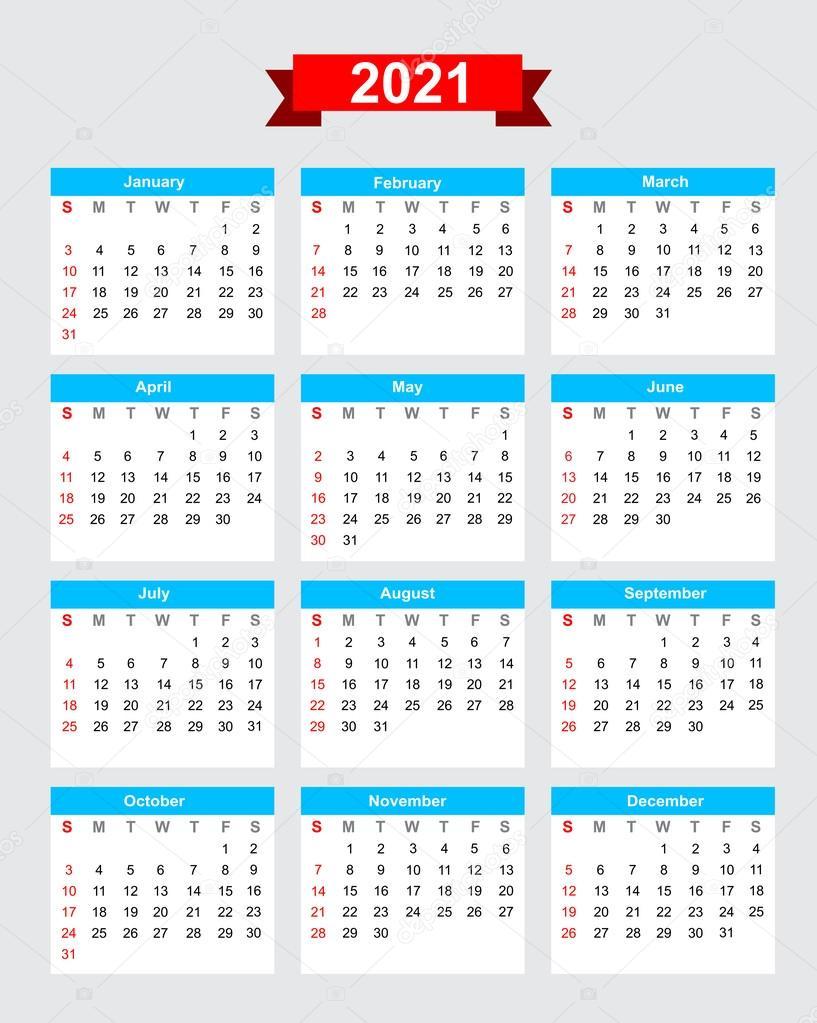 2021 Kalenderwoche beginnen Sonntag — Stockvektor ...