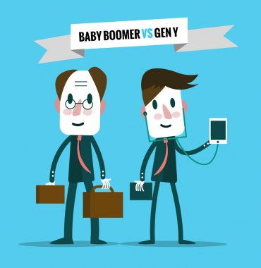 baby boomers  VS generation y. Business human resource.
