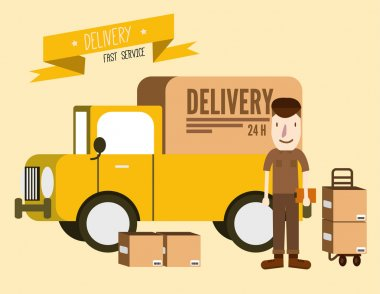 Postal delivery courier man in front of cargo van. delivering package.