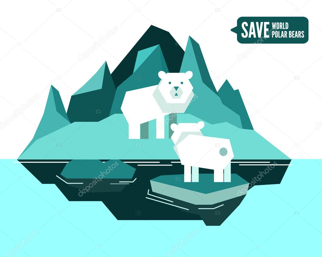 Polar bears is separated from family. global warming concept.