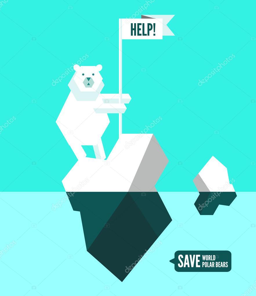 Polar bears with help sign.