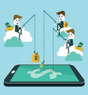 Business people making money by fishing dollar banknote from wallet on screen of smart phone.