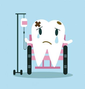 Bandaged sad tooth sitting on wheel chair.