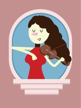 Red dress woman Playing the Violin on window.