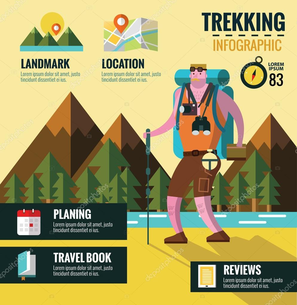 Hiking and Trekking info graphics. Mountain background.