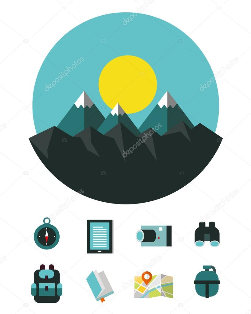 Mountain landscape with Camping and hiking equipment icons.