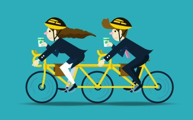 Business people cycling to work. teamwork concept.