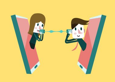 Man and woman talking on a mobile phone. flat design element. ve