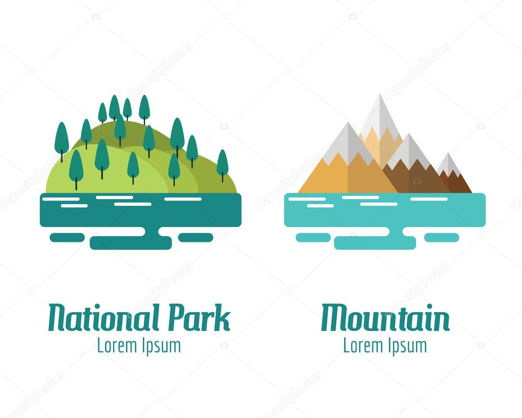 National Park and Mountain landscape. flat design elements. vect