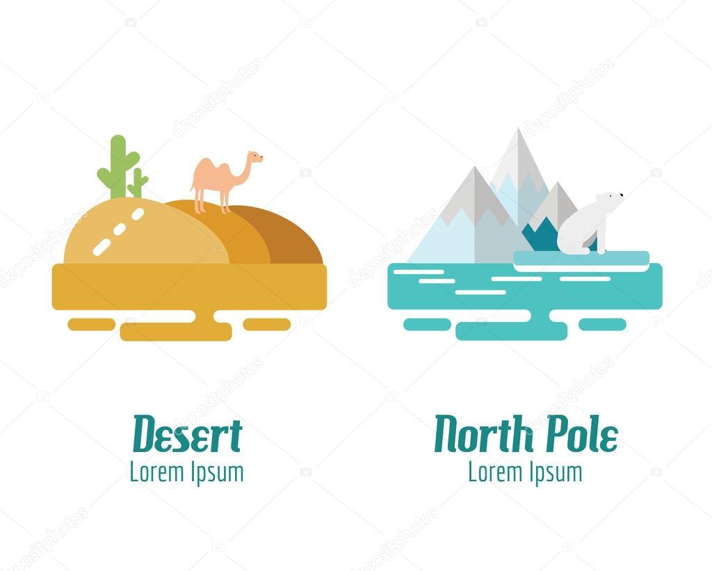 Desert and North Pole landscape. flat design elements. vector il