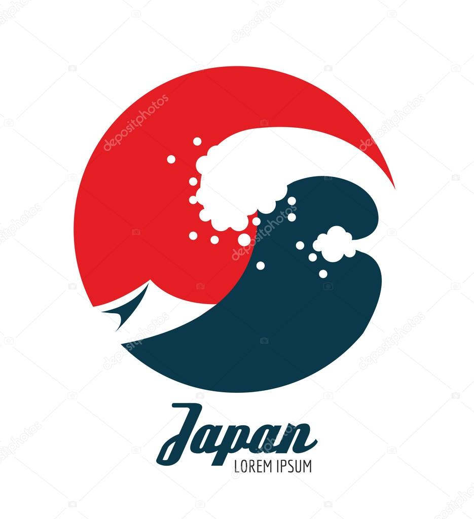 Ocean waves in red circle. Japanese icon design.