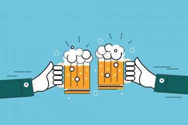 Two businessmen toasting glasses of beer.