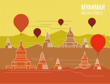 Bagan Temple with hot air balloon. destination scene of Myanmar.