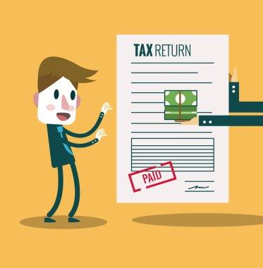 Businessman get paid bill and money return.Tax return concept.