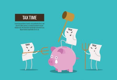 Tax bill hold hammer about to smash piggy bank. cartoon characte