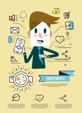 Businessman enjoy with his smartwatch.