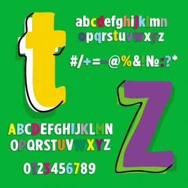 Alphabet, set of letters RAINBOW