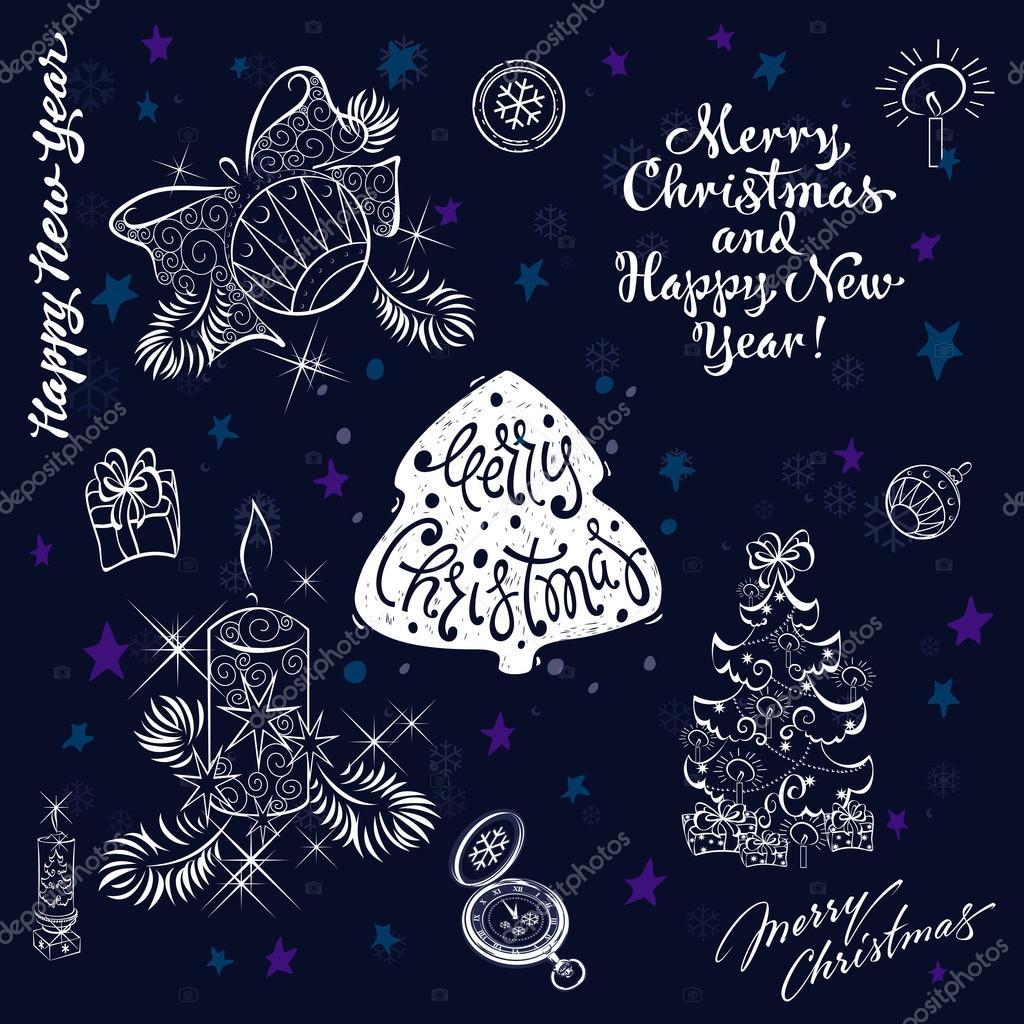 Neues Jahr und Frohe Weihnachten Clipart und Schriftzug festlegen ...