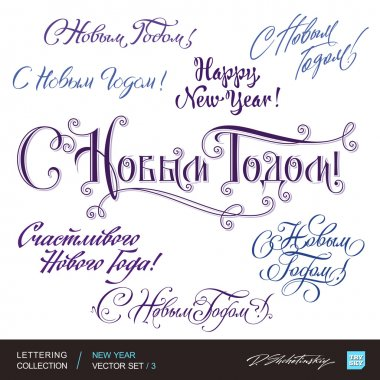 New Year greetings hand lettering set 3 (vector)
