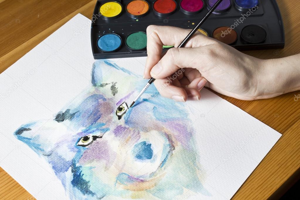 Der Künstler Malt Ein Bild Wolf Mit Pinsel Und Wasserfarben Bunte