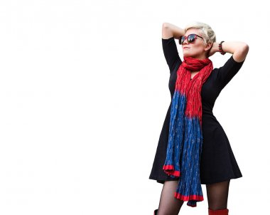 Stylish young beautiful woman blonde in black little dress, red scarf, high boots and sunglasses isolated on white background. Girl with short hair. Fashion haircut. Trendy hairstyle. Model shot.