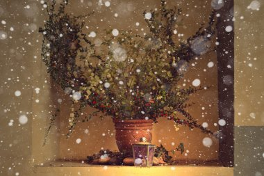 Christmas still life. Clay pot with branches, flowers and glass  Snowing. Beige wall background. Vintage.