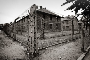 classic historical view of Auschwitz death camp in sepia