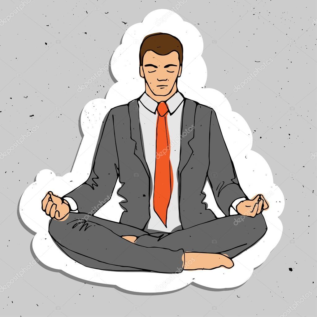 Homme D Affaires Pense Pendant La Meditation Illustration De