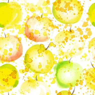 watercolor apple seamless background