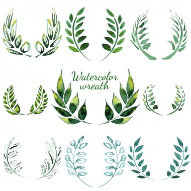 Watercolor vintage floral trendy set of wreaths and laurels stock vector