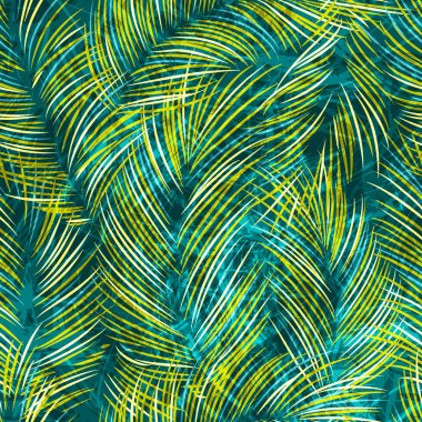 Seamles vector background with tropical palm leaves