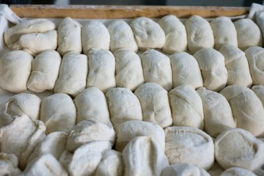 Large Tray of Unbaked Bread Rolls