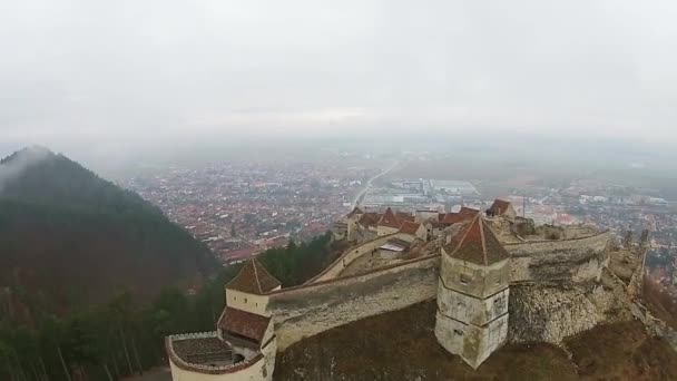 Rasnov Fortress, aerial rising above the citadel