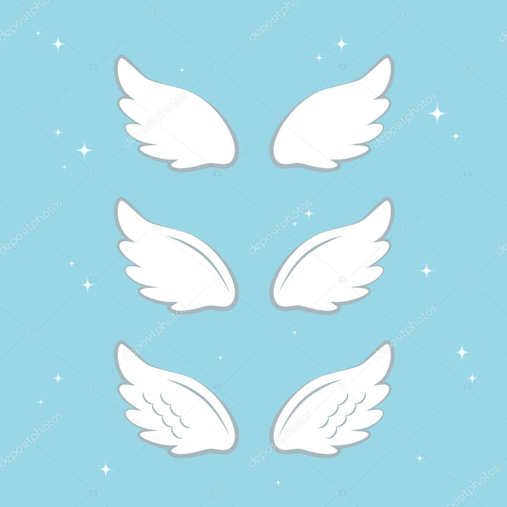 Flying angel wings with gold nimbus. Wings and nimbus. Angel winged glory halo cute cartoon drawings illustration vector set icon