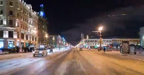 drive along Nevsky prospect at night.
