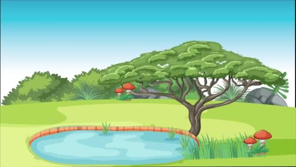 Paar sitzt in einem Garten am Wasser