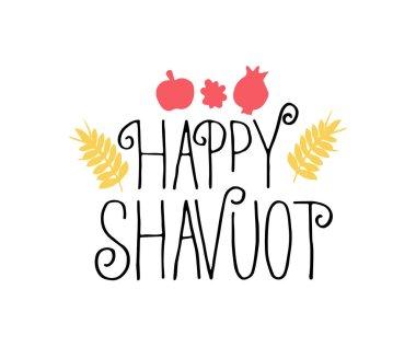 happy shavuot lettering, vector illustration