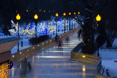 Beautiful skating avenue in central moscow park in the winter