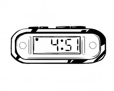 Digital clock with buttons, displaying the hour