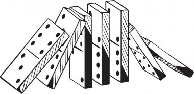 Upright set of dominoes falling in two directions