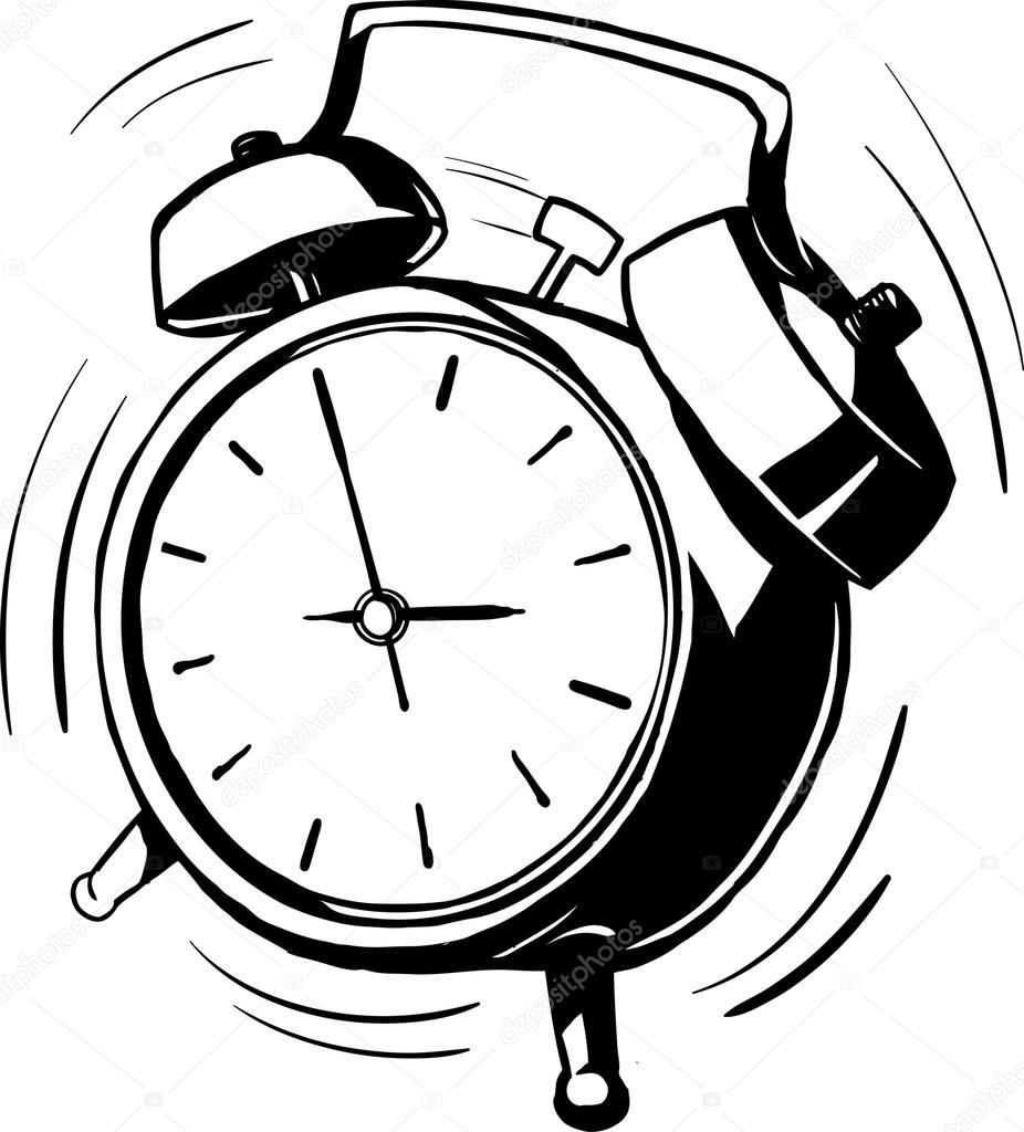 bouncing alarm clock with a ringing bell stock vector Alarm Clock Going Off black and white sketch of a bouncing retro alarm clock with ringing bells at an angled perspective with motion lines vector by businessdoodles