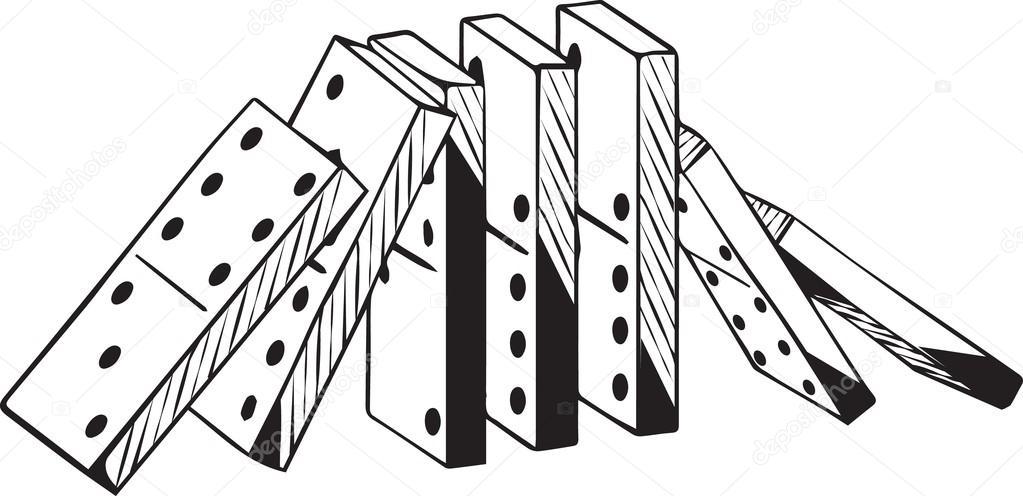 Conjunto vertical de fichas de dominó cayendo en dos direcciones ...