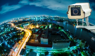 CCTV camera or surveillance with fish eye perspective