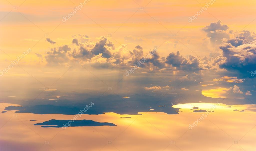 Sunset or sunrise with clouds, light rays and other atmospheric effect