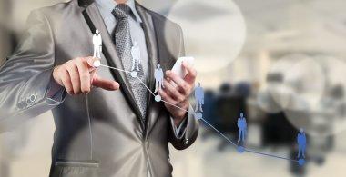 Businessman pressing on digital virtual screen, human resource m