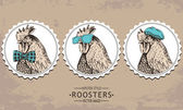 Photo hand-drawn vector vintage hipster style rooster